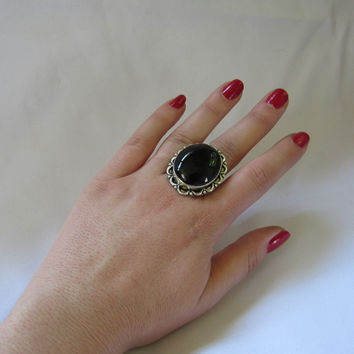 Gems & Stones Silver Plate Large Stone Ring - Black Onyx- Sz 8.5