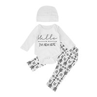 3pcs Newborn Baby Girl Boy Clothes Long Sleeve Cotton Letter Romper Jumpsuit +Long Arrow Pants Leggings+Hat Baby Clothing Set