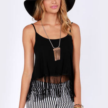 Pardon My Fringe Black Fringe Top