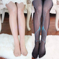 Women Transparent Sexy Fish Sparkling Mermaid Tail Printing Tights Pantyhose