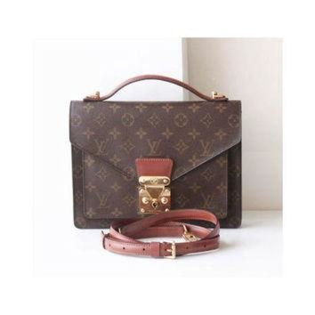 PEAPYD9 Louis Vuitton Monogram Monceau Bag Authentic Vintage Brown handbag