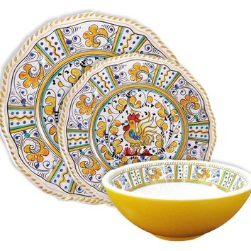 Le Cadeaux Rooster Yellow Melamine Dinnerware Set
