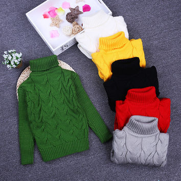 Kids Baby Boys  Sweaters Children Autumn Winter Spring Sweater knitting topsTurtleneck pullover cardigan sweater for girls