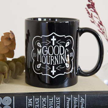 Good Mourning - Black and White Mug - Gothic Home Decor