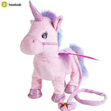 Baaobaab 5Colors Electric Walking Unicorn Plush Toy Stuffed Animal Toy Electronic Music Unicorn Toy for Children Kids Gifts 35cm
