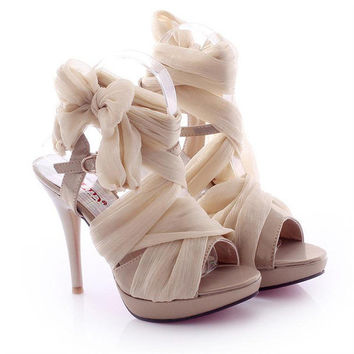 High Heel Chiffon Lace Up Sandals for Women B061626