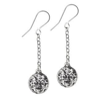 Alchemy Gothic Man In The Moon Dropper Earrings Jewelry Mera Luna