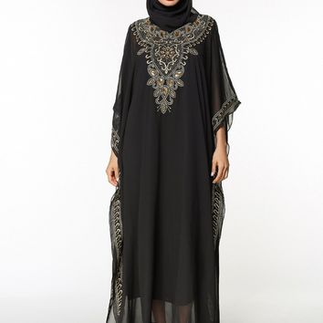 Fashion Chiffon Muslim Embroidery dress for Women