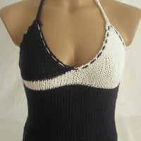 Hand knitted low back dark blue and white blouse