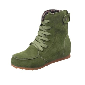 HOT Sale ,AIMTOPPY Women Flat Ankle Snow Motorcycle Boots Female Suede Leather Lace-Up Boot (US:6, Green)