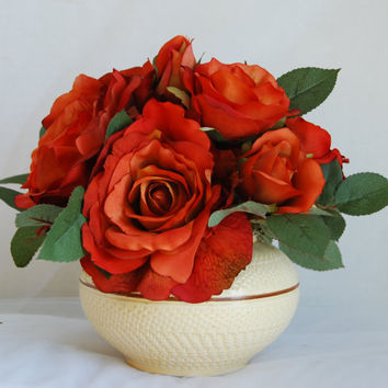 Silk Floral Arrangement- Orange Silk Roses, Modern Flower Arrangement, Artificial Rose Arrangement, Faux Rose Arrangement, Home Decor Flower