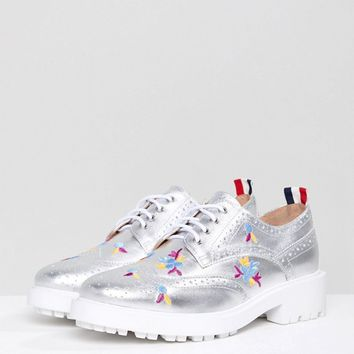 Essentiel Antwerp Leather Brogues with Embroidery at asos.com