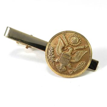Vintage Military WWII Uniform Button Tie Clip