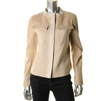 DKNY Womens Leather Contrast Trim Jacket