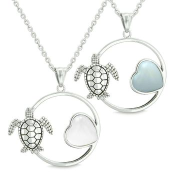 Amulets Cute Sea Turtles Love Couples Best Friends Set Magic Heart White Cats Eye Opalite Necklaces