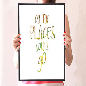 Printable Digital file, Dr Seuss, Nursery, World, Antique, Home decor, Typography, World Map, Quote Typography art Word art Inspirational