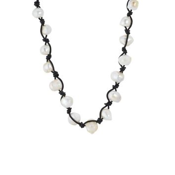 Stretchy Baroque Pearl Necklace braided.  White Baroque Necklace with Black Stretchy Cord.