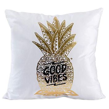 "Golden Pineapple Decorative Throw Pillow Covers 18""x18"" Flannel Cute Pillow Cases Euro Shams Pillow Covers Tropical Cushion Covers"