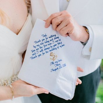 Father of the Bride, Embroidered Wedding Handkerchief, Dad Gift, Thank you for walking by my side, By Canyon Embroidery
