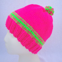 Safety Hat, Neon Pink & Green w/ Pom Pom, Visibility Hat, Slouch Hat, Hand Knit, Back to School, Child/Kid Girl, Beanie Cap, Women Teens