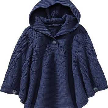 Old Navy Girls Hooded Cable Knit Ponchos Size M/L - Navy crockett