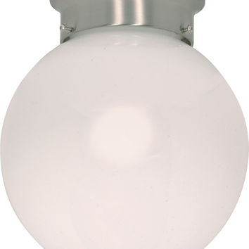 "8"" Flush Mount Globe Ceiling Light in Brushed Nickel Finish"