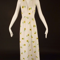 1970s Floral Print Cotton Halter Dress, Bust-36