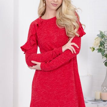Party Red Ruffle Dress