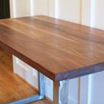 Walnut wood desk, Modern Walnut Desk, Brushed Steel Legs walnut table