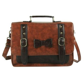 WORTHFIND Women Large Space Leather Briefcase