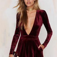 Lioness Luck be a Lady Velvet Romper - Burgundy