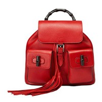Gucci Bamboo Leather Backpack 370833 6433 Red