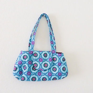 Women's handbag, fabric handbag, fabric purse, handmade purse, women's gift idea, women's accessory, teal handbag, cute purse, fully lined