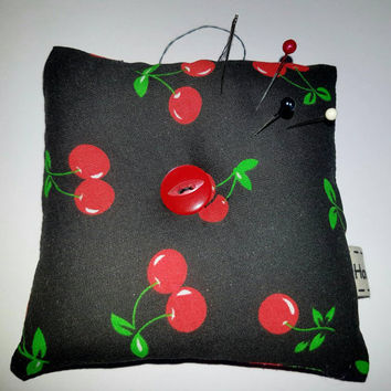 "Rockabilly cherry pin cushion super cute 4""×4"" perfect gift for beginner sewer... start of your sewing box pin cushion Cherry fabric"