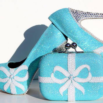 Tiffany Blue Glitter Crystal Heel with Matching Clutch