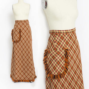 Vintage 1960s Maxi Skirt - Plaid Pumpkin Orange Knit Fringe Full Length 70s - Medium