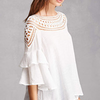 Crochet Ruffle Sleeve Top