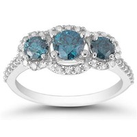 1.40 Carat Blue and White Three Stone Ring in 10K White Gold