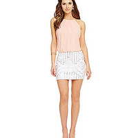 B. Darlin High-Neck Sequin Skirt Two-Fer Dress - Pale Peach/White