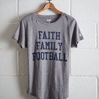 Tailgate Women's Faith Family Football T-Shirt, Gray Heather