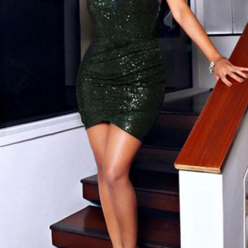 Streetstyle  Casual Deep Green Plain Sparkly Sequin Spaghetti Straps Bodycon Ruched NYE Party Mini Dress