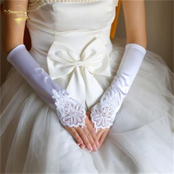 New Arrival wedding accessories Bridal Gloves lace satin gloves liturgy gloves medium-long meters white red black G004