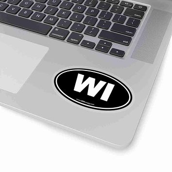 Wisconsin WI Euro Oval Sticker SOLID BLACK