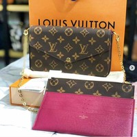 LV Louis Vuitton Shopping Leather Handbag Tote Satchel Leisure Shoulder Bag Women Three-Piece
