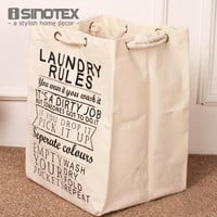 1 PCS/Lot Foldable Laundry Basket Bag Cotton&Linen Hamper Storage With Thick Cotton Rope 49x36.5x34cm/19.2''x14.3''x13.3''