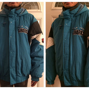 Sale!! Vintage Starter SAN JOSE SHARKS Sturdy Winter Hooded Jacket Nhl Hockey Parka Coat