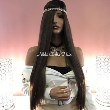Brown Ombre Balayage' Side Parting Human Hair Blend Swiss Lace Front Wig - Mint 121723