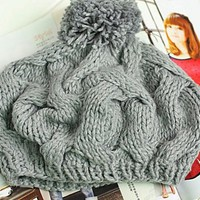 Cute winter handmade coarse knitted pumpkin hat