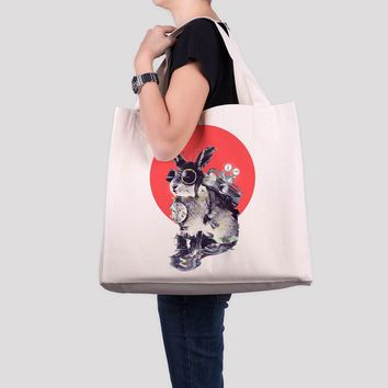 Time Traveler Canvas Tote Bag, Funny Animal Large Beach Bag, Cute Bunny Oversized Tote Bag