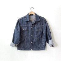 Vintage 70s jean jacket. cropped denim jacket. Dark wash jacket.